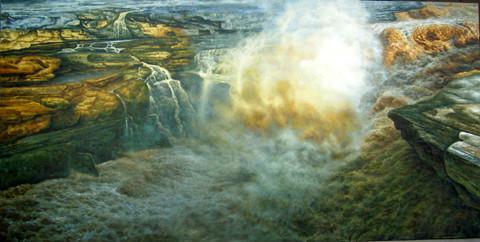 桂林山水风景油画,白桦树林风景油画等各地的名胜古迹画家也都进行过