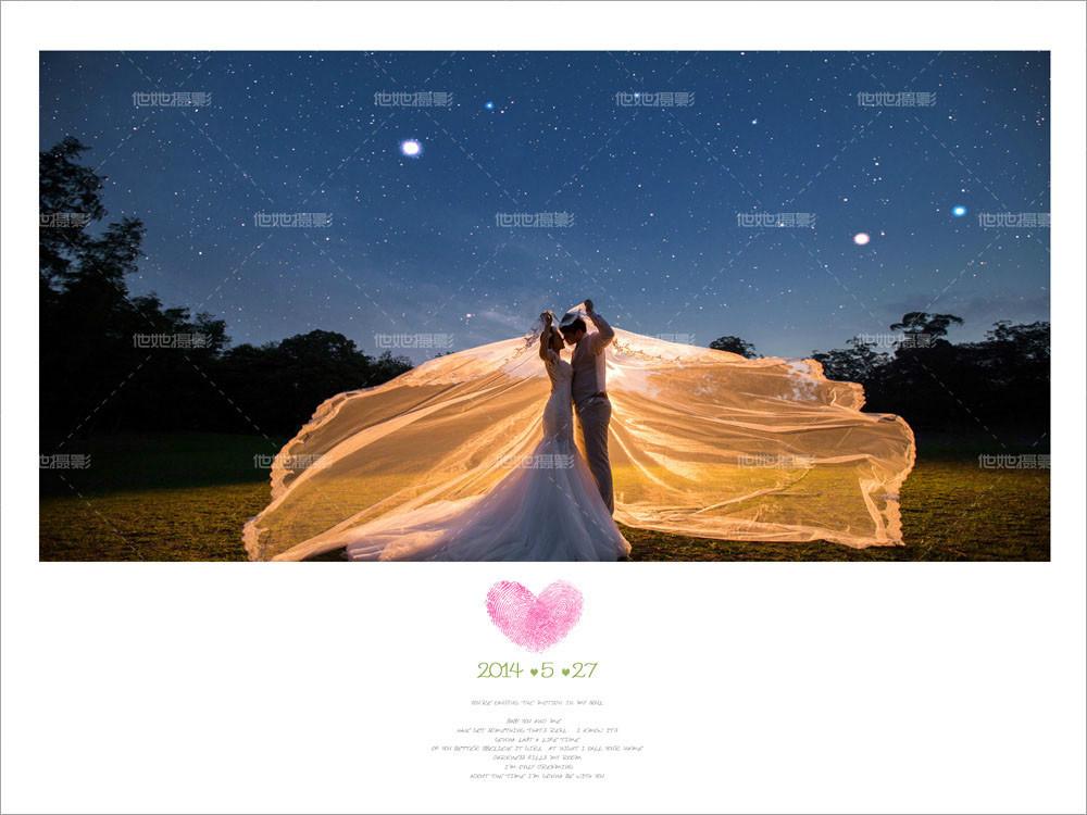 既然是夜景婚纱照,星空是一个很好的主题,静谧的夜空,似藏青色的帷幕