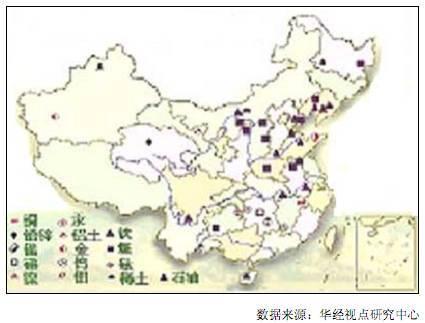 中国矿产资源分布图
