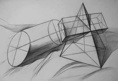 素描几何体结构透视
