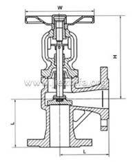 角式德标波纹管截止阀外形尺寸图