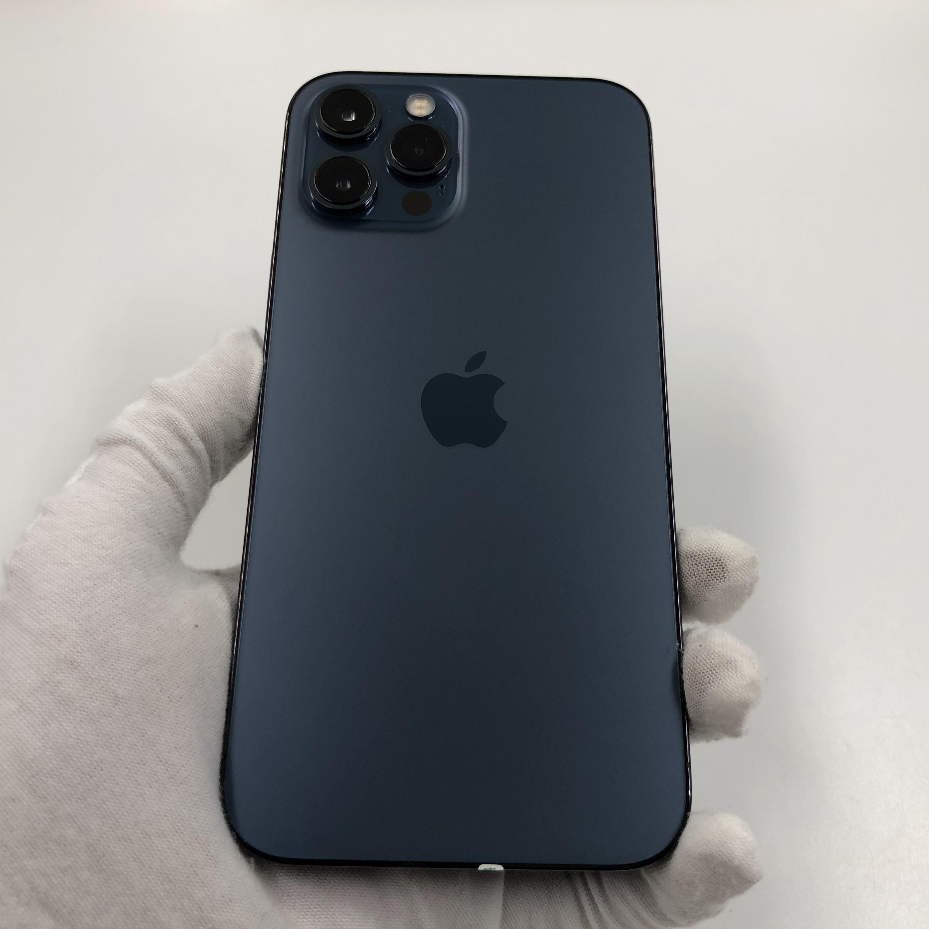 苹果【iPhone 12 Pro Max】4G全网通 海蓝色 256G 国行 95新 真机实拍官保2022-04-14